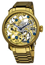 Akribos XXIV watches - men's mechanical gold tone skeletal