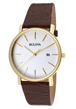 Bulova watches - men's white dial brown