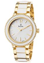 Bulova Watches - women's gold tone steel and white