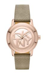 dkny watches - tompkins grey saffiano leather logo