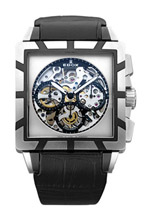 Edox Watches - Silver dial black calfskin