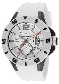 guess watches men's white dial