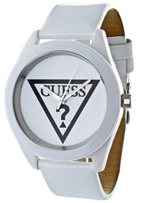 guess watches womens white dial