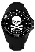Haurex watches - women's ink round black rubber