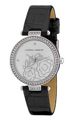 laura ashley silver crystal women's watch