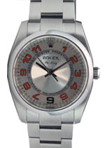 Rolex Air King - steel silver concentric