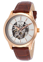 Rotary watches - men's automatic brown skeletonized