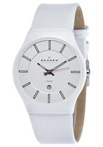 Skagen watches - men's white dial leather